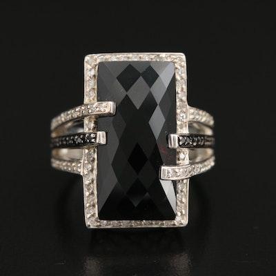 Sterling Silver Black Onyx, Diamond, and Black Diamond Ring