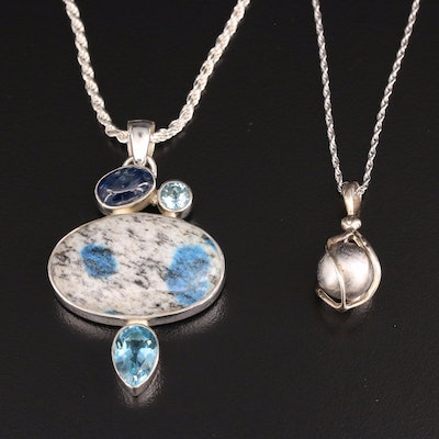 Sterling Silver Pendant Necklaces Featuring Topaz, Kyanite and Granite