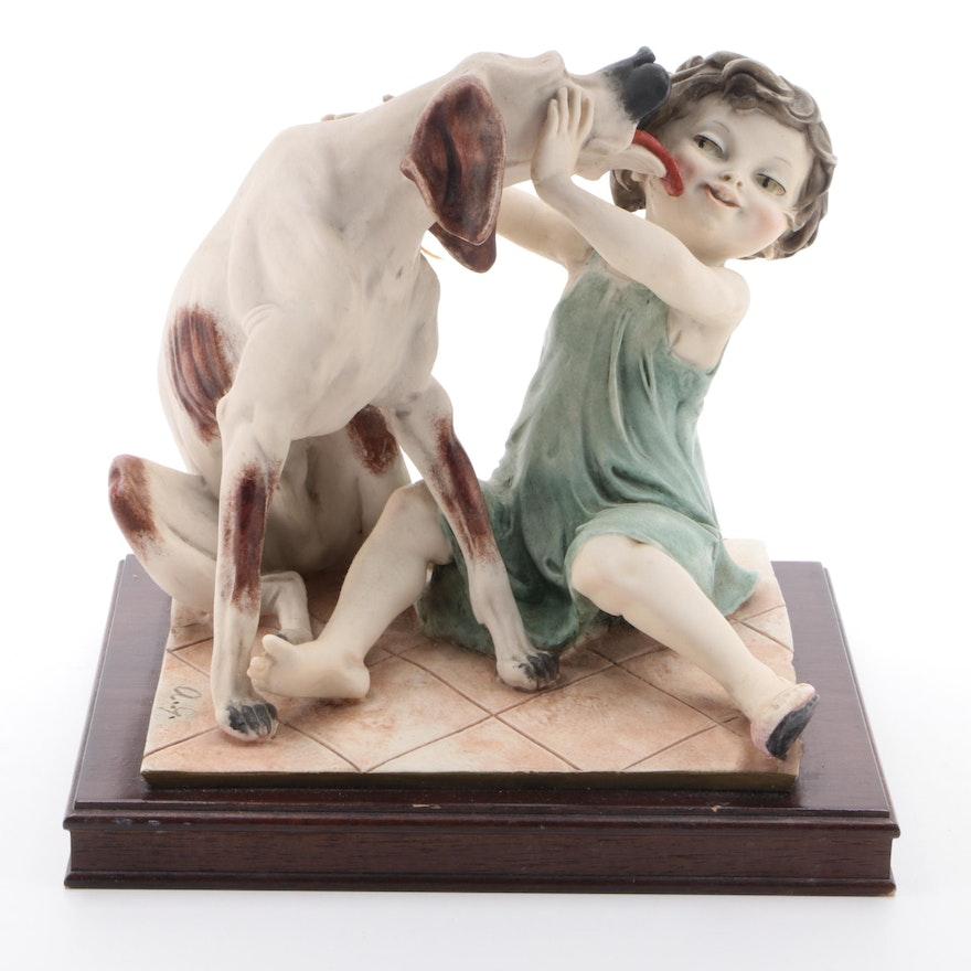 Giuseppe Armani Child with Dog Composite Figurine on Wooden Base