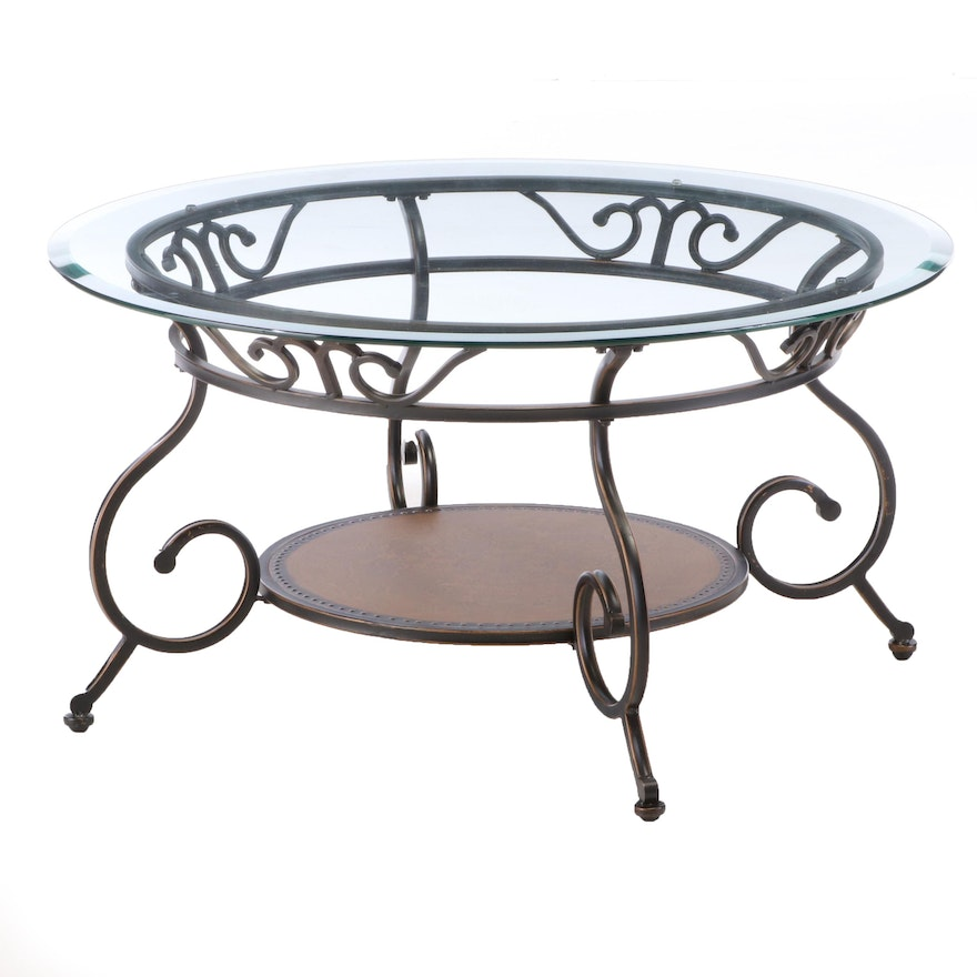 Scrolled and Patinated Metal Coffee Table with Glass Top