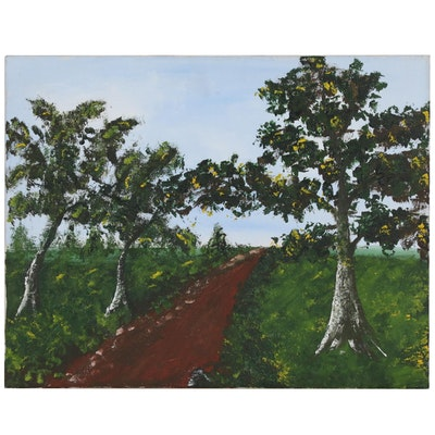 Landscape Acrylic Painting of Country Road