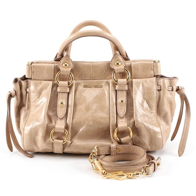 Miu Miu Vitello Lux Leather Satchel with Detachable Shoulder Strap