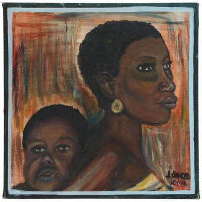 Portrait Acrylic Painting of Mother and Child