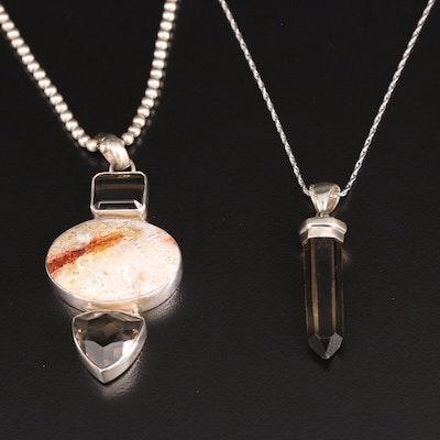 Sterling Silver Smoky Quartz Necklaces Including Jasper