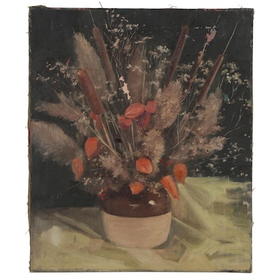 Floral Still Life Oil Painting, Mid 20th Century