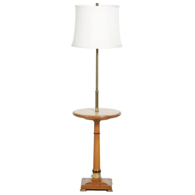 Fredrick Cooper Brass and Wood Floor Lamp with Table