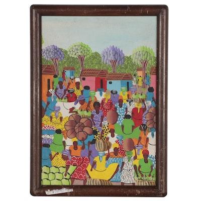 M. Similien Haitian Folk Art Painting of Market Scene