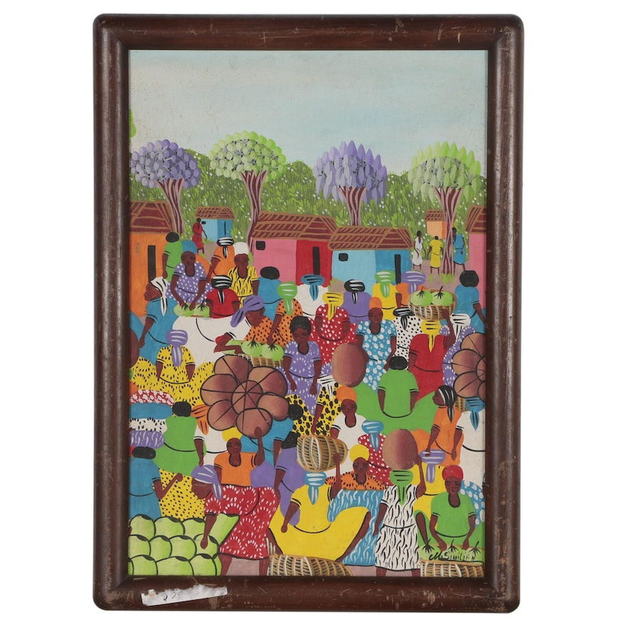 M. Similien Haitian Folk Art Painting of Market Scene