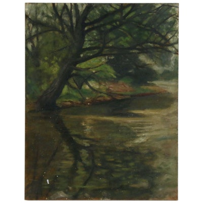 Landscape Oil Painting of Woodland Stream