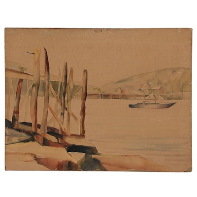 Watercolor Painting of Harbor and Wharf