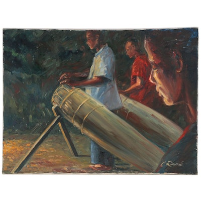 Oil Painting of Drummers