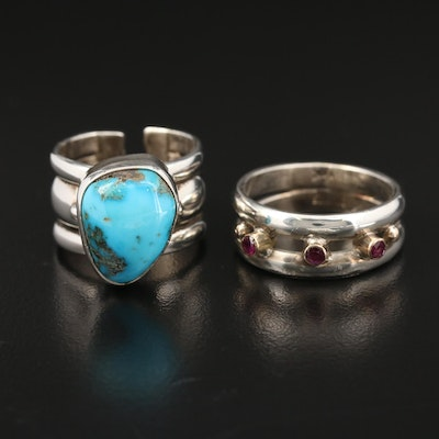 Sterling Silver Rings Featuring Turquoise, Ruby and 14K Gold Accent