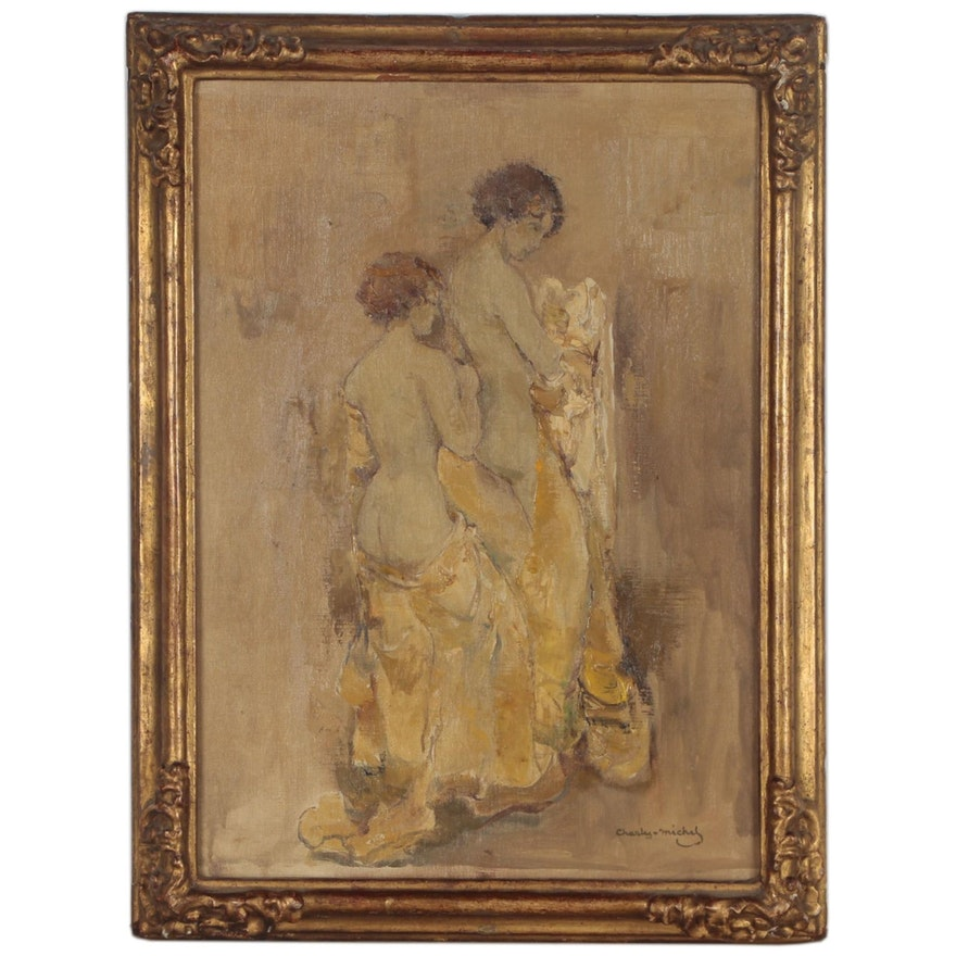 Charles Michel Figure Oil Painting of Two Standing Semi Nude Women