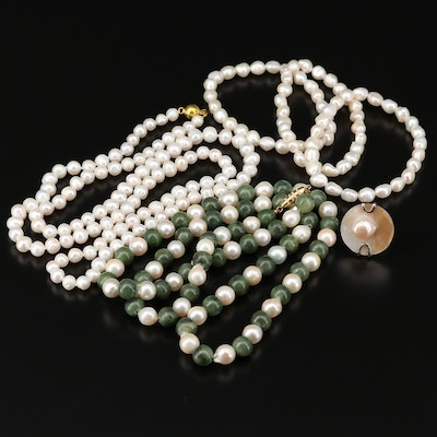 Collection of Cultured Pearl Jewelry with Serpentine