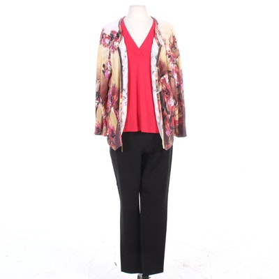 St. John Brand Red V-Neck Top, Floral Zip Jacket, and Black Slacks