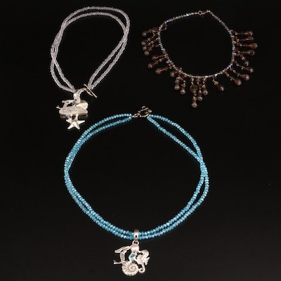 Fringe Necklace and Ocean Themed Necklace with Glass, Topaz, Rock Quartz Crystal