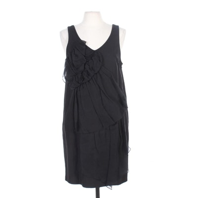 3.1 Phillip Kim Linen Blend Black Sleeveless Shift Dress with Pockets