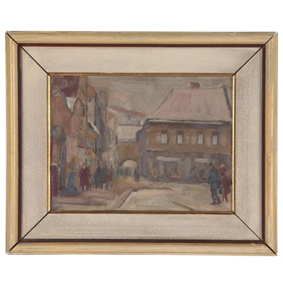 Julius Bukovinsky Winter Street Scene Oil Painting, 1964