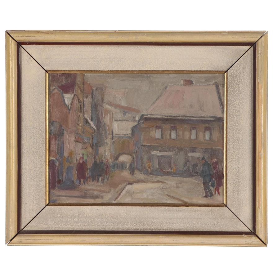 Julius Bukovinsky Winter Street Scene Oil Painting, 1964