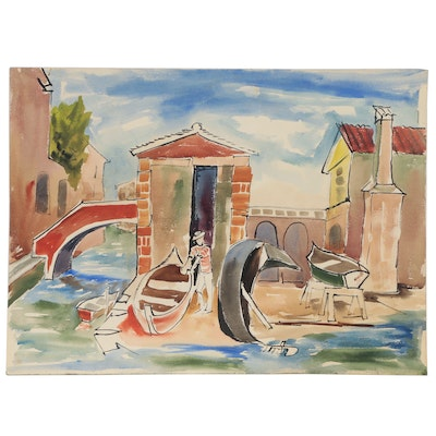 Bror Utter Modernist Canal Scene Watercolor Painting, Mid 20th Century