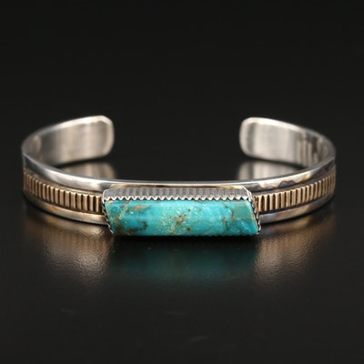 Will Denetdale Navajo Diné Sterling Turquoise Cuff Bracelet with 14K Accents