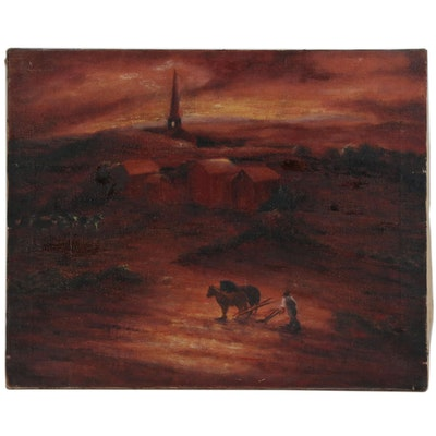 Oil Painting of Man Plowing Field