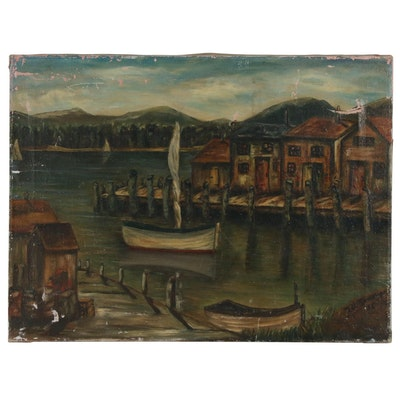 Oil Painting of Wharf and Fishing Boats, Mid 20th Century