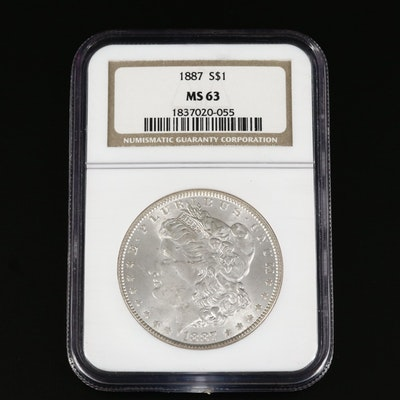 NGC Graded MS63 1887 Morgan Silver Dollar