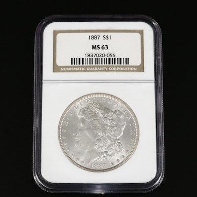 NGC Graded MS63 1887 Morgan Silver Dollar