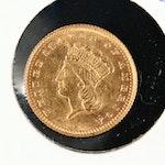 1874 Indian Princess Head Type III Gold Dollar