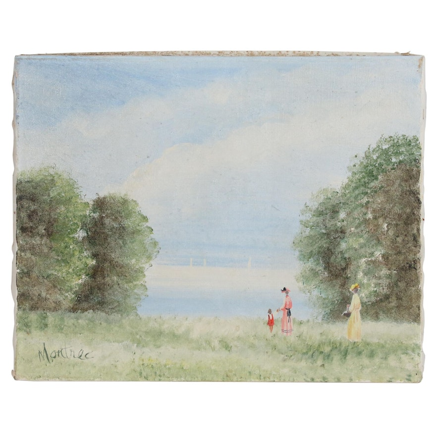Oil Painting of Women and Girl at Lake Shore