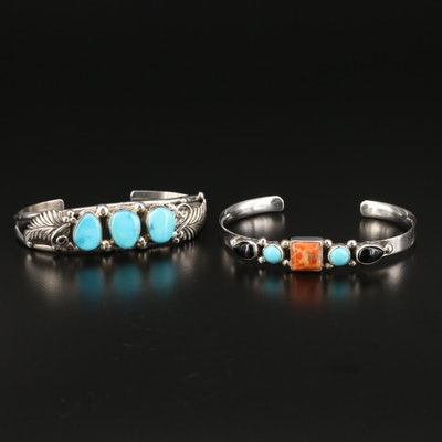 Southwestern Sterling Cuff Bracelets with Turquoise, Coral and Black Onyx
