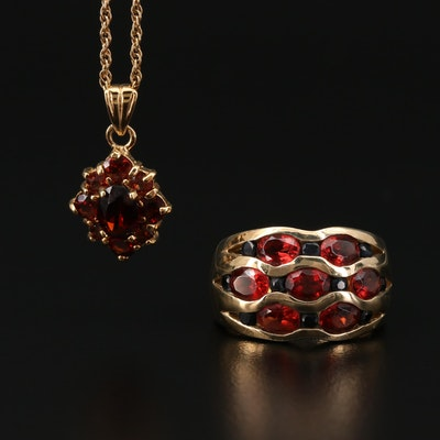 Sterling Silver Garnet and Sapphire Ring and Necklace