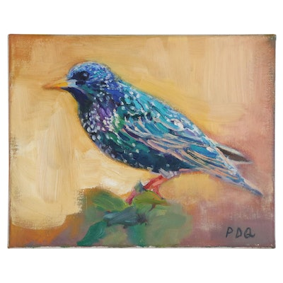 "PDQ Oil Painting of Bird ""Starling"""