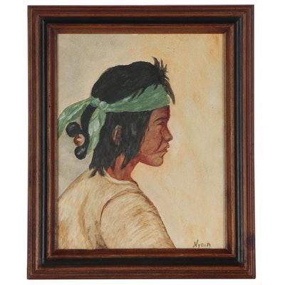 Portrait Oil Painting of Native American Boy