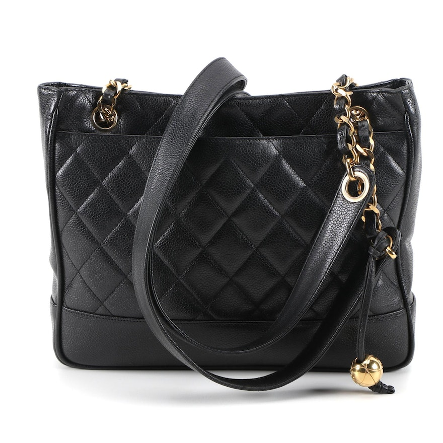 Chanel Black Quilted Caviar Leather Shoulder Tote