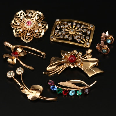 Vintage Retro Rhinestone Brooches and Earrings Featuring Coro and Van Dell