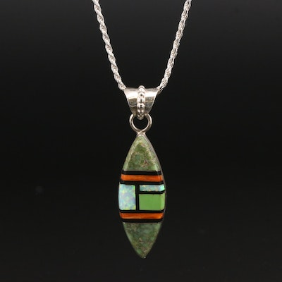 Southwestern Sterling Synthetic Opal, Turquoise and Coral Pendant Necklace