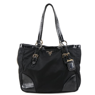 Prada Expandable Zipper Tote in Black Tessuto Nylon and Crinkled Patent Leather