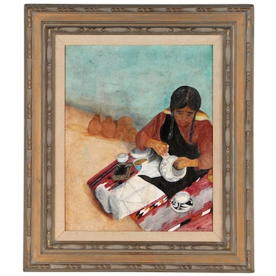 Nydia Oil Painting of Native American Woman Potter