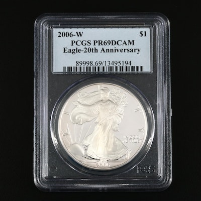 PCGS Graded PR69DCAM 2006-W $1 Proof American Silver Eagle
