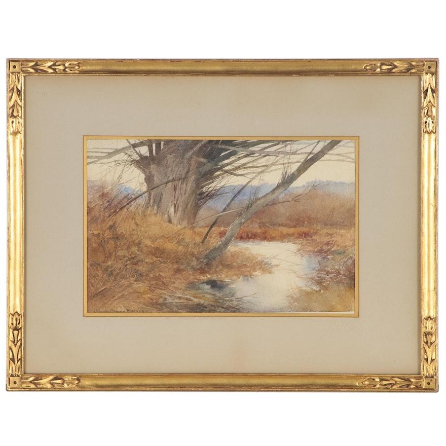 Hiram Putnam Barnes Landscape Watercolor Painting