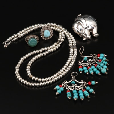 Sterling Silver Jewelry Including Elephant Pendant and Chandelier Earrings