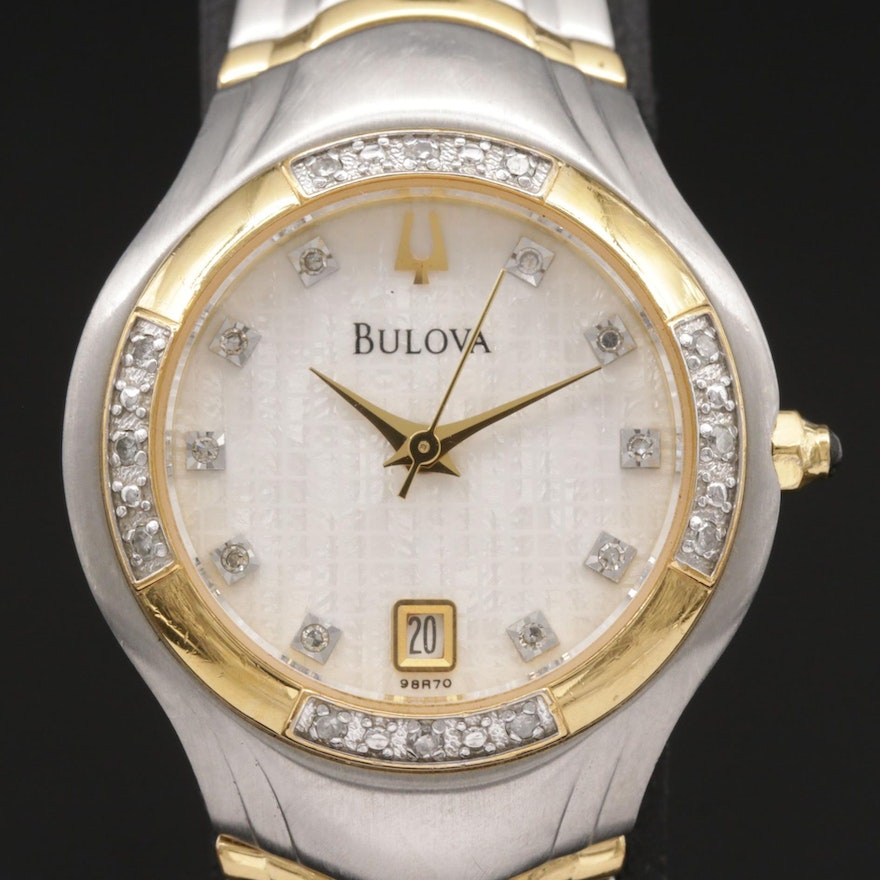Bulova 98R70 Diamond Accented Two Tone Quartz Wristwatch