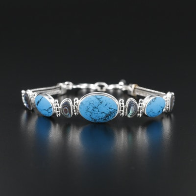 Sterling Silver Turquoise and Abalone Bracelet