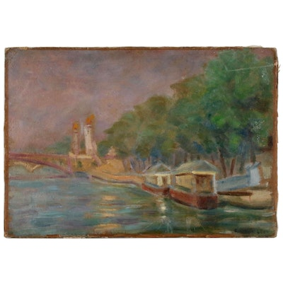 Impressionist Style Oil Painting of Parisian River Scene