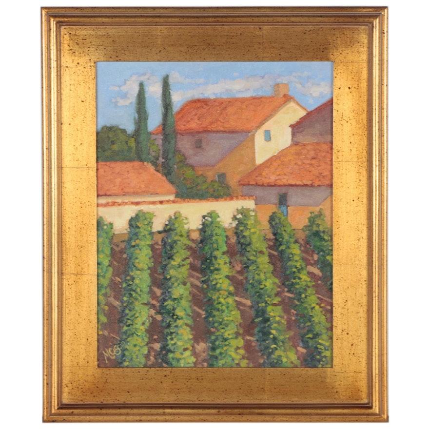 Monica Cascio Oil Painting of Vineyard