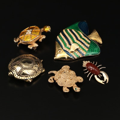 Fish, Turtle and Lobster Brooches Featuring Kenneth Jay Lane