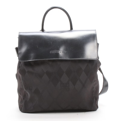 Givenchy Black Leather and Diamond Patterned Nylon Backpack