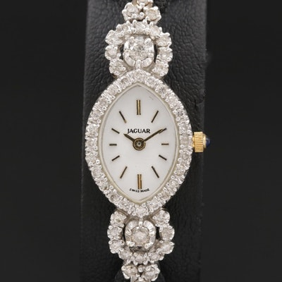 Jaguar 1.00 CTW Diamond and 14K Gold Quartz Wristwatch, Vintage
